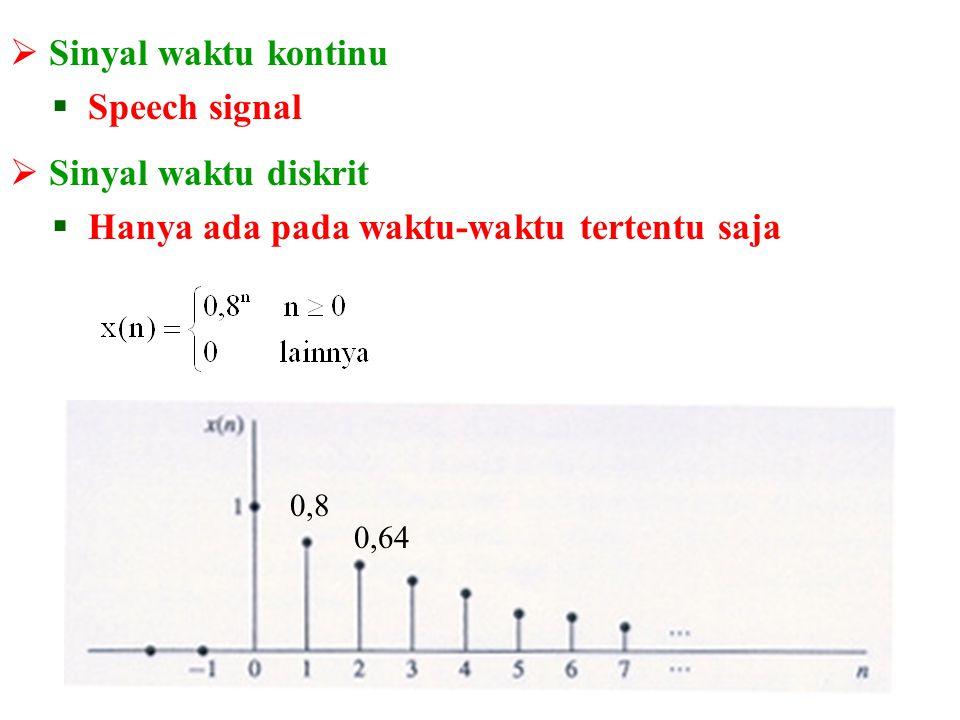  Sinyal berharga kontinu (Continuous-valued signal)  Dapat berharga berapa saja Sinyal berharga kontinu dan waktu diskrit
