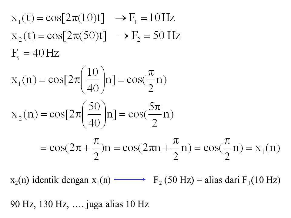 x 2 (n) identik dengan x 1 (n)F 2 (50 Hz) = alias dari F 1 (10 Hz) 90 Hz, 130 Hz, …. juga alias 10 Hz