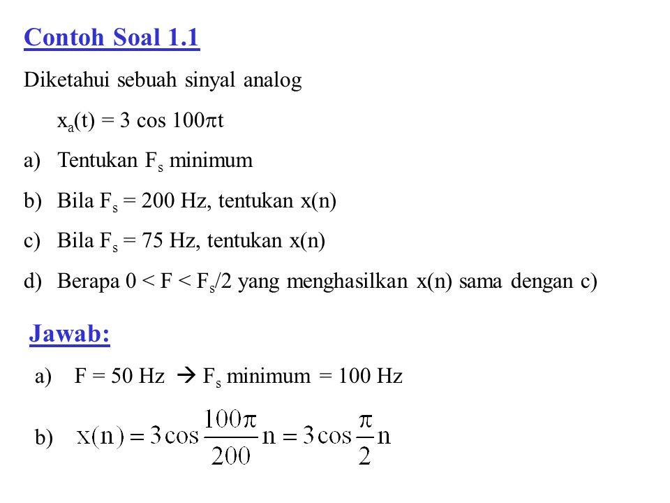 Contoh Soal 1.1 Diketahui sebuah sinyal analog x a (t) = 3 cos 100  t a)Tentukan F s minimum b)Bila F s = 200 Hz, tentukan x(n) c)Bila F s = 75 Hz, t