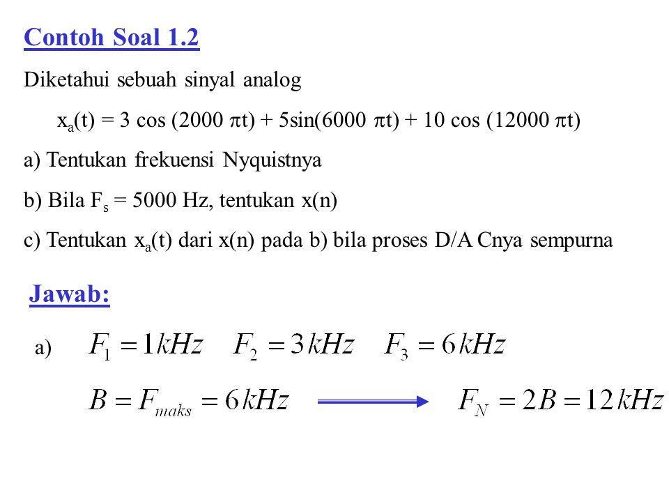 Contoh Soal 1.2 Diketahui sebuah sinyal analog x a (t) = 3 cos (2000  t) + 5sin(6000  t) + 10 cos (12000  t) a) Tentukan frekuensi Nyquistnya b) Bi