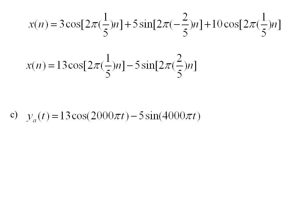 Contoh Soal 1.3 Diketahui sebuah sinyal analog x a (t) = 3 cos (50  t) + 10 sin(300  t) - cos (100  t) a) Tentukan laju pencuplikan minimum yang dibutuhkan untuk menghindari pengaliasan b) Bila sinyal tersebut dicuplik dengan laju 100 pencuplikan/sekon, berapa sinyal waktu diskrit yang diperoleh sesudah pencuplikan c) Bila sinyal tersebut dicuplik dengan laju 200 pencuplikan/sekon, berapa sinyal waktu diskrit yang diperoleh sesudah pencuplikan [Ujian Tengah Semester, 8 Oktober 2002] Jawab: a)