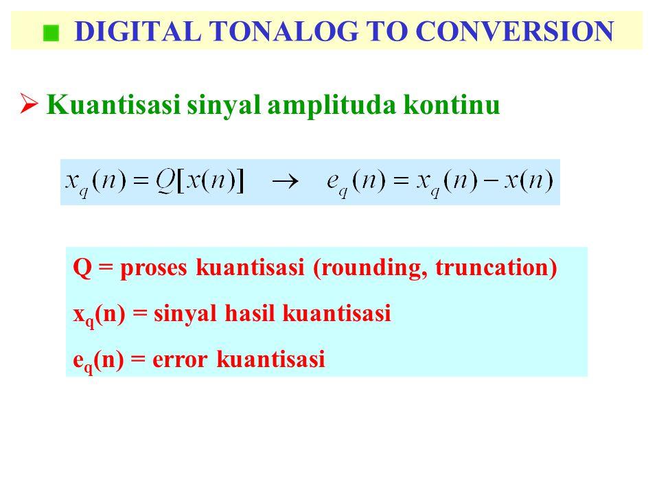 DIGITAL TONALOG TO CONVERSION  Kuantisasi sinyal amplituda kontinu Q = proses kuantisasi (rounding, truncation) x q (n) = sinyal hasil kuantisasi e q