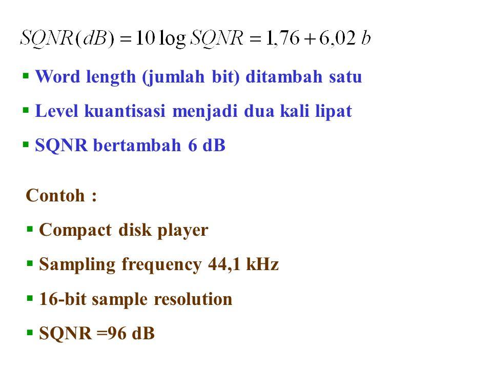  Word length (jumlah bit) ditambah satu  Level kuantisasi menjadi dua kali lipat  SQNR bertambah 6 dB Contoh :  Compact disk player  Sampling fre