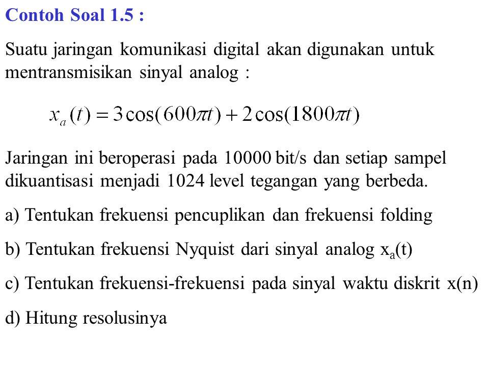 Contoh Soal 1.5 : Suatu jaringan komunikasi digital akan digunakan untuk mentransmisikan sinyal analog : Jaringan ini beroperasi pada 10000 bit/s dan