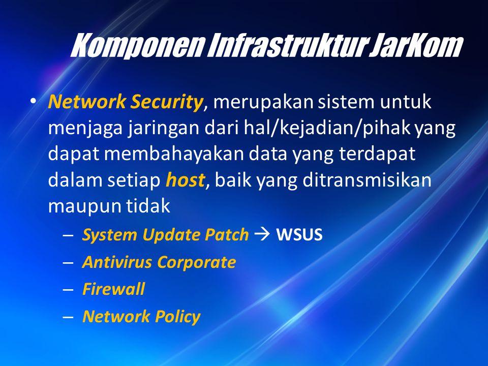 Komponen Infrastruktur JarKom Network Security, merupakan sistem untuk menjaga jaringan dari hal/kejadian/pihak yang dapat membahayakan data yang terd