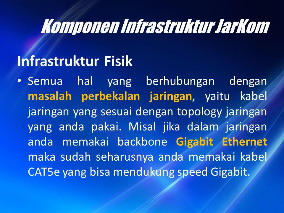 Komponen Infrastruktur JarKom Semua piranti jaringan seperti: – router yang memungkinkan komunikasi antar jaringan local yang berbeda segmen, – Switches, bridges, yang memungkinkan hosts terhubung ke jaringan – Server yang meliputi seperti server data file, exchange server, DHCP server, DNS server, dan hosts.