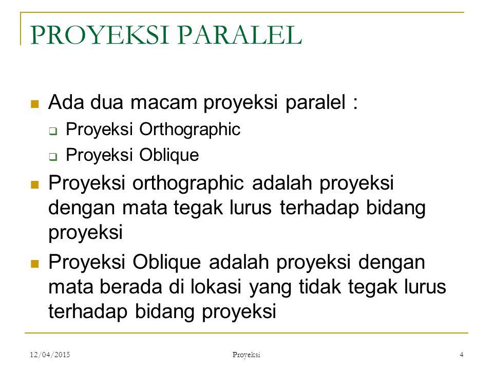 12/04/2015 Proyeksi 4 PROYEKSI PARALEL Ada dua macam proyeksi paralel :  Proyeksi Orthographic  Proyeksi Oblique Proyeksi orthographic adalah proyek