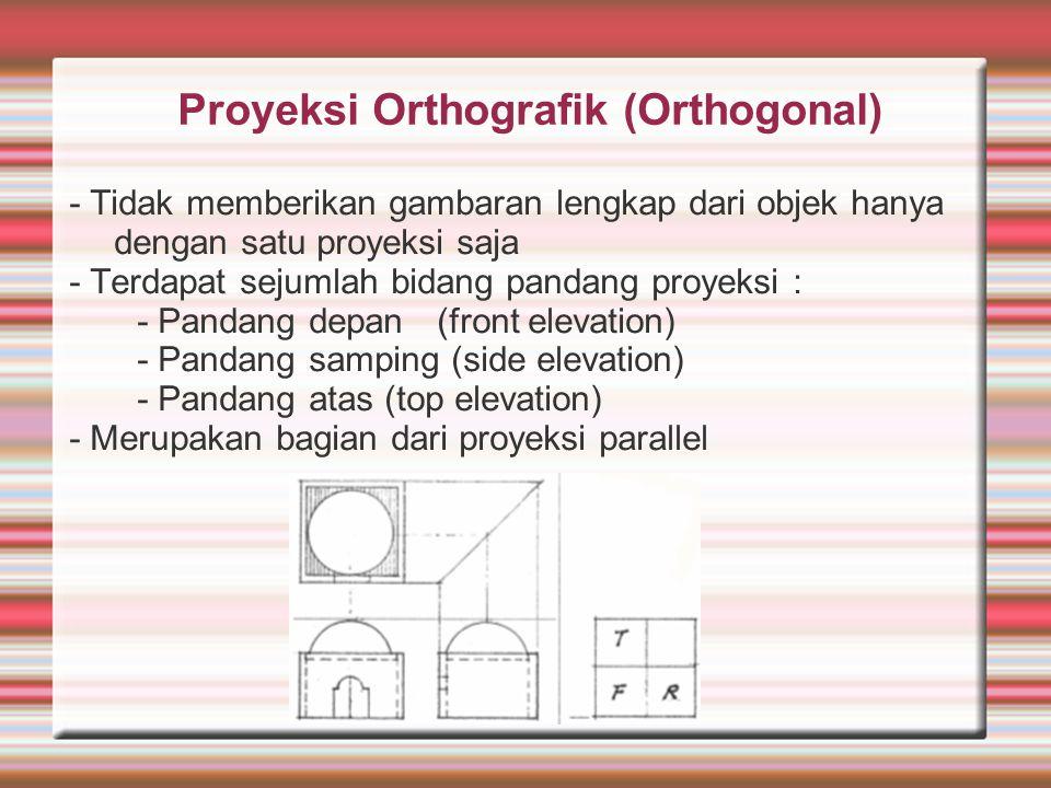 Proyeksi Orthografik (Orthogonal) - Tidak memberikan gambaran lengkap dari objek hanya dengan satu proyeksi saja - Terdapat sejumlah bidang pandang pr