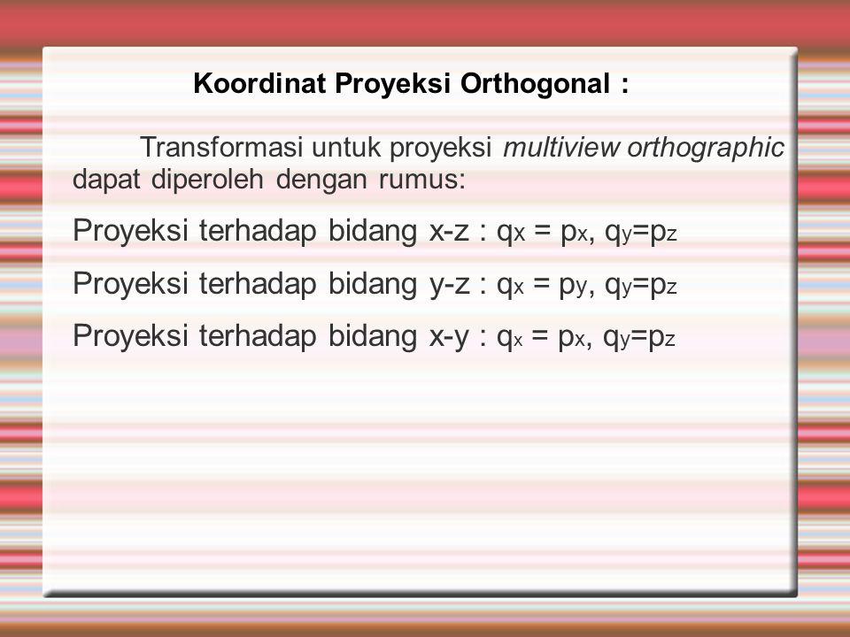 Transformasi untuk proyeksi multiview orthographic dapat diperoleh dengan rumus: Proyeksi terhadap bidang x-z : q x = p x, q y =p z Proyeksi terhadap