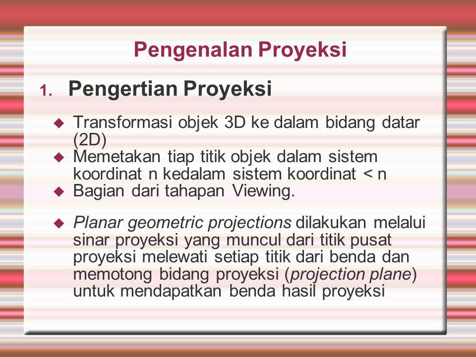 Pengenalan Proyeksi 1. Pengertian Proyeksi  Transformasi objek 3D ke dalam bidang datar (2D)  Memetakan tiap titik objek dalam sistem koordinat n ke