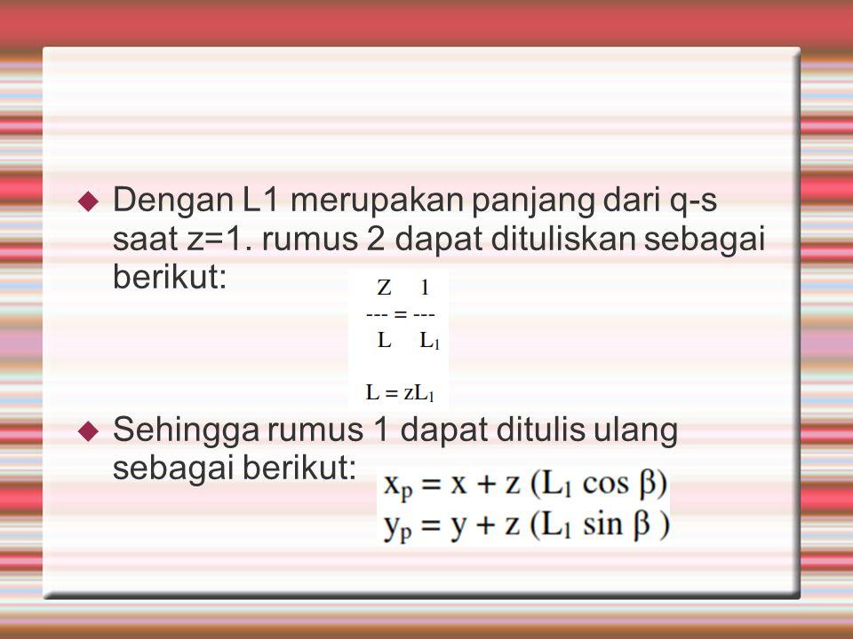  Dengan L1 merupakan panjang dari q-s saat z=1. rumus 2 dapat dituliskan sebagai berikut:  Sehingga rumus 1 dapat ditulis ulang sebagai berikut: