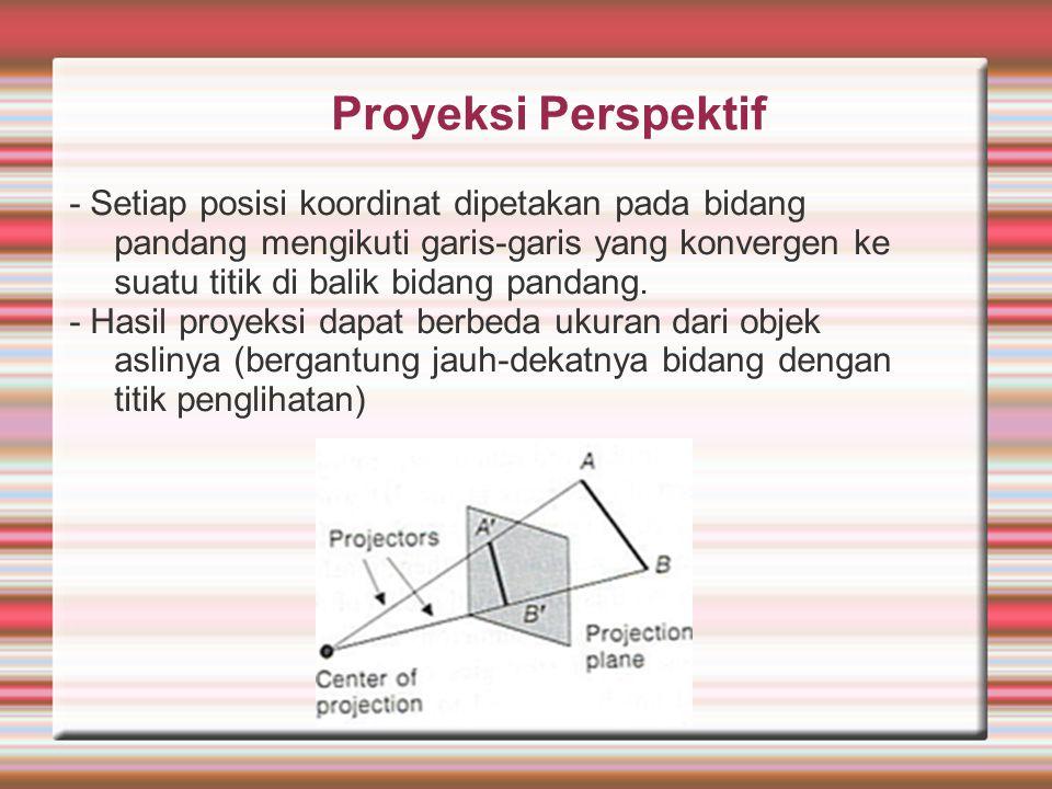 Proyeksi Perspektif - Setiap posisi koordinat dipetakan pada bidang pandang mengikuti garis-garis yang konvergen ke suatu titik di balik bidang pandan