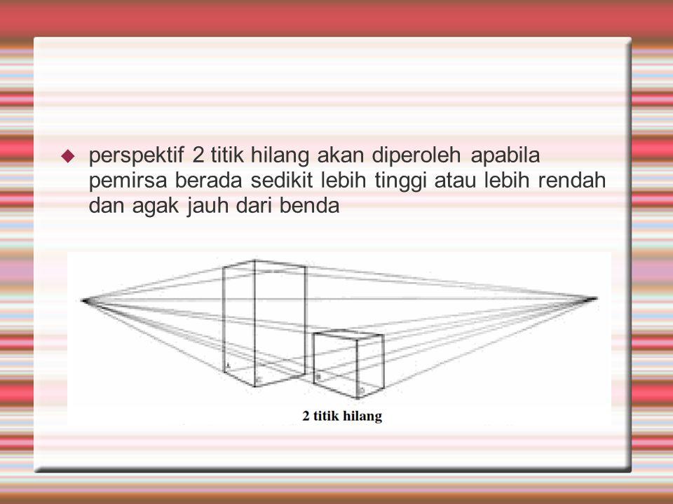 perspektif 2 titik hilang akan diperoleh apabila pemirsa berada sedikit lebih tinggi atau lebih rendah dan agak jauh dari benda
