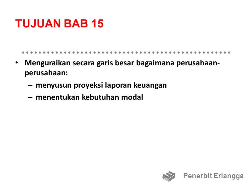TUJUAN BAB 15 Menguraikan secara garis besar bagaimana perusahaan- perusahaan: – menyusun proyeksi laporan keuangan – menentukan kebutuhan modal Pener