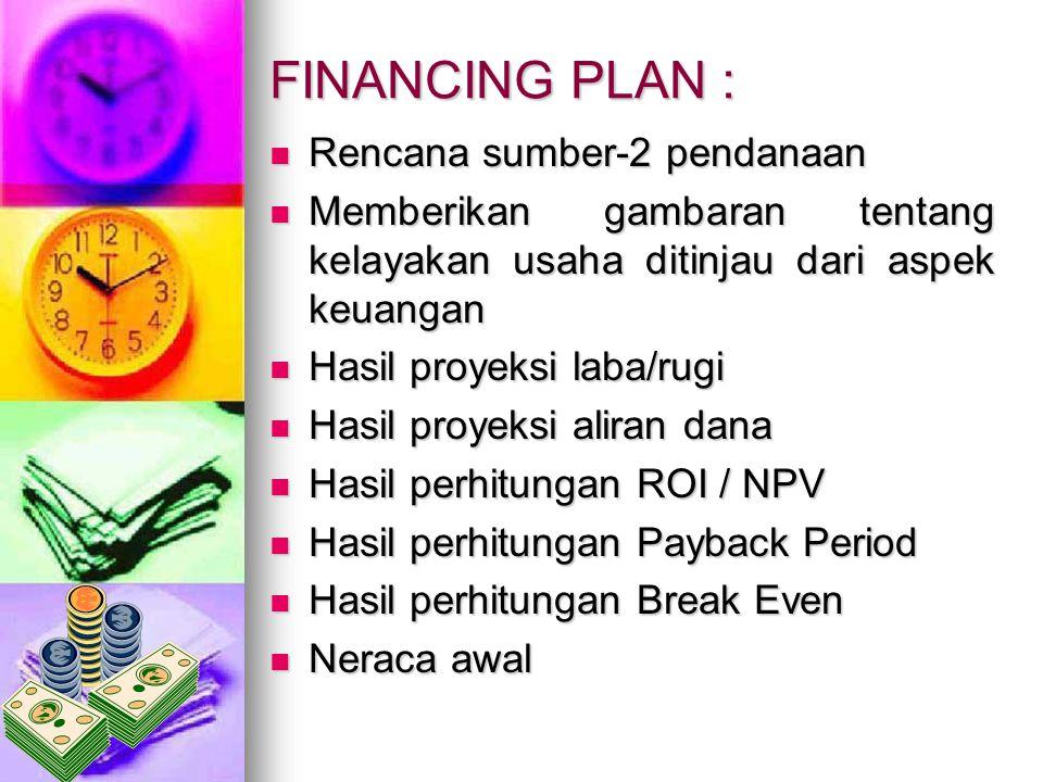 FINANCING PLAN : Rencana sumber-2 pendanaan Rencana sumber-2 pendanaan Memberikan gambaran tentang kelayakan usaha ditinjau dari aspek keuangan Member