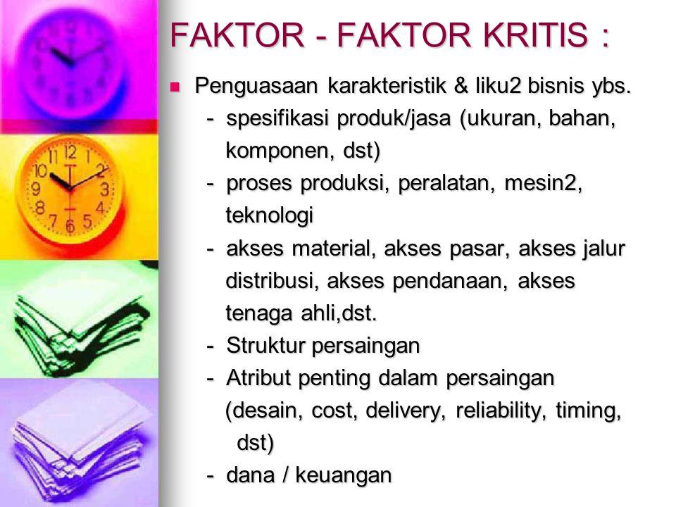 FAKTOR - FAKTOR KRITIS : Penguasaan karakteristik & liku2 bisnis ybs. Penguasaan karakteristik & liku2 bisnis ybs. - spesifikasi produk/jasa (ukuran,