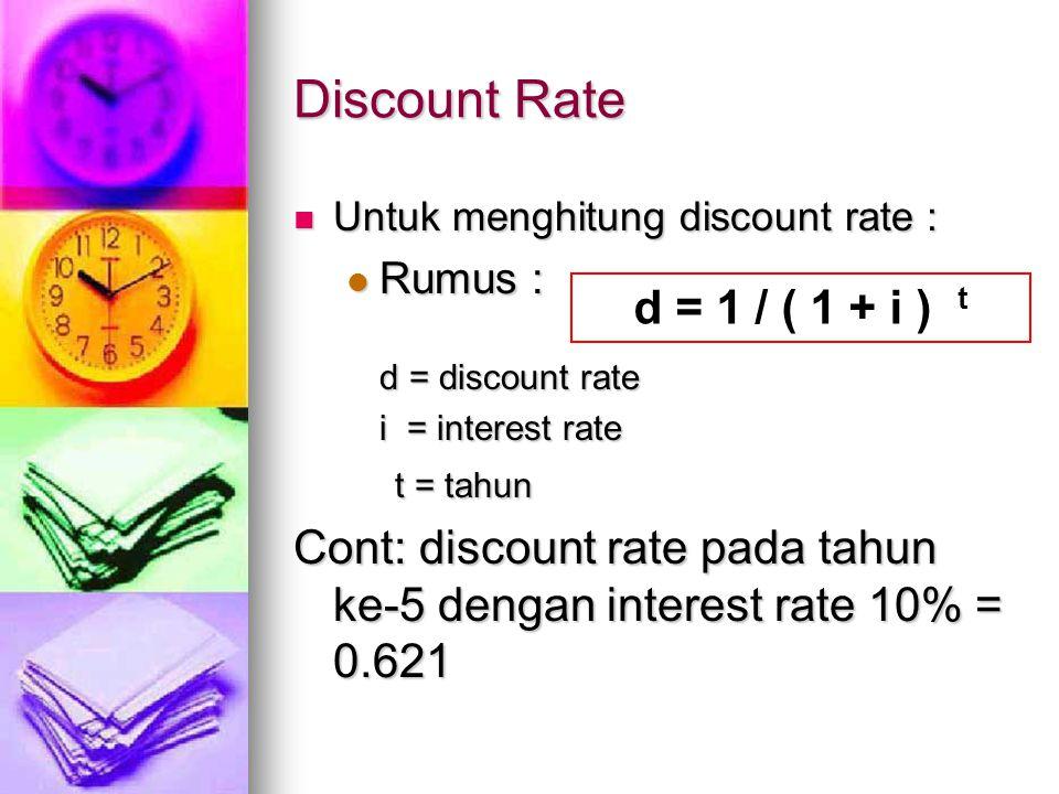 Discount Rate Untuk menghitung discount rate : Untuk menghitung discount rate : Rumus : Rumus : d = discount rate i = interest rate t = tahun t = tahu