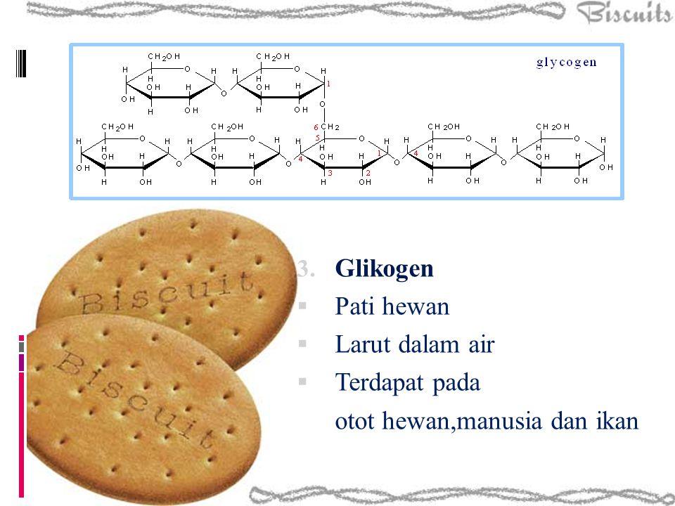 3. Glikogen  Pati hewan  Larut dalam air  Terdapat pada otot hewan,manusia dan ikan