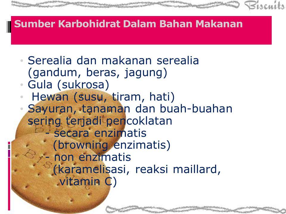 Sumber Karbohidrat Dalam Bahan Makanan Serealia dan makanan serealia (gandum, beras, jagung) Gula (sukrosa) Hewan (susu, tiram, hati) Sayuran, tanaman