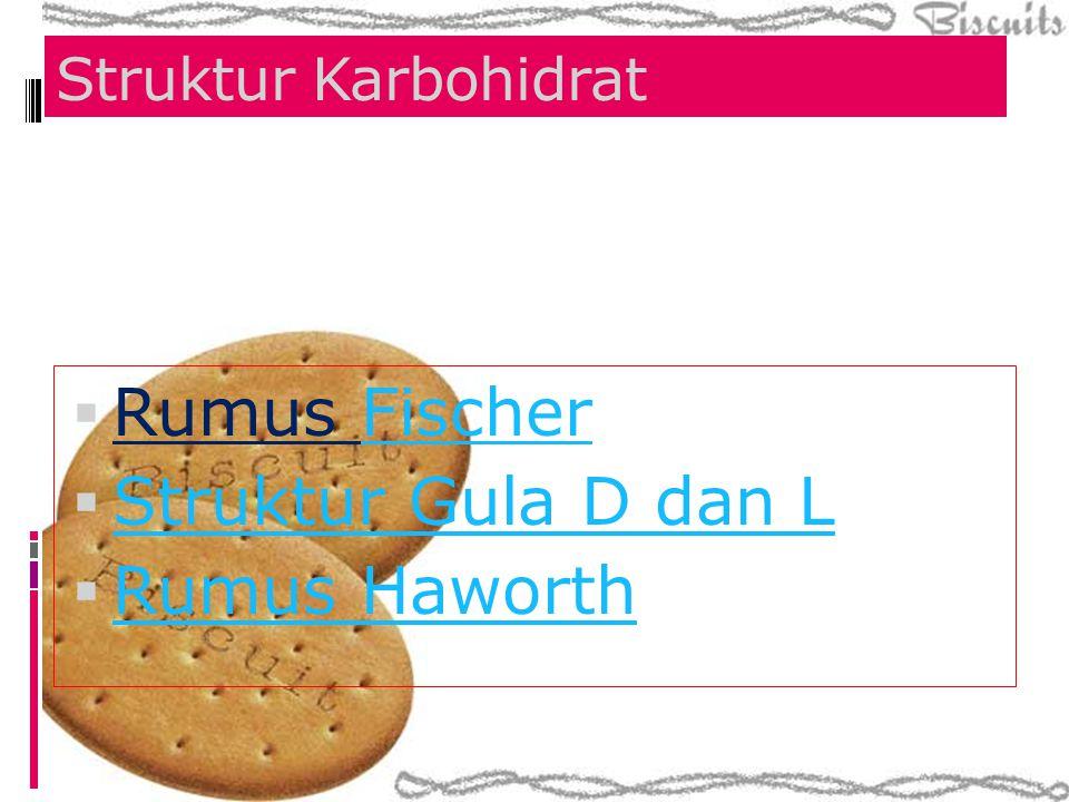 Struktur Karbohidrat  Rumus FischerFischer  Struktur Gula D dan L Struktur Gula D dan L  Rumus Haworth Rumus Haworth