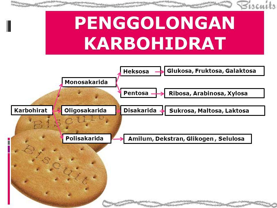  Karbohidrat yang tidak dapat dihidrolisis menjadi bentuk yang lebih sederhana lagi  Pembagian  Triosa, tetrosa, pentosa, heksosa  Aldosa atau ketosa Aldosa Ketosa C3 (triosa) gliserosa dihidroksiaseton C4(tetrosa) eritrosa eritrulosa C5 (pentosa) ribosa ribulosa C6 (heksosa) glukosa fruktosa MONOSAKARIDA