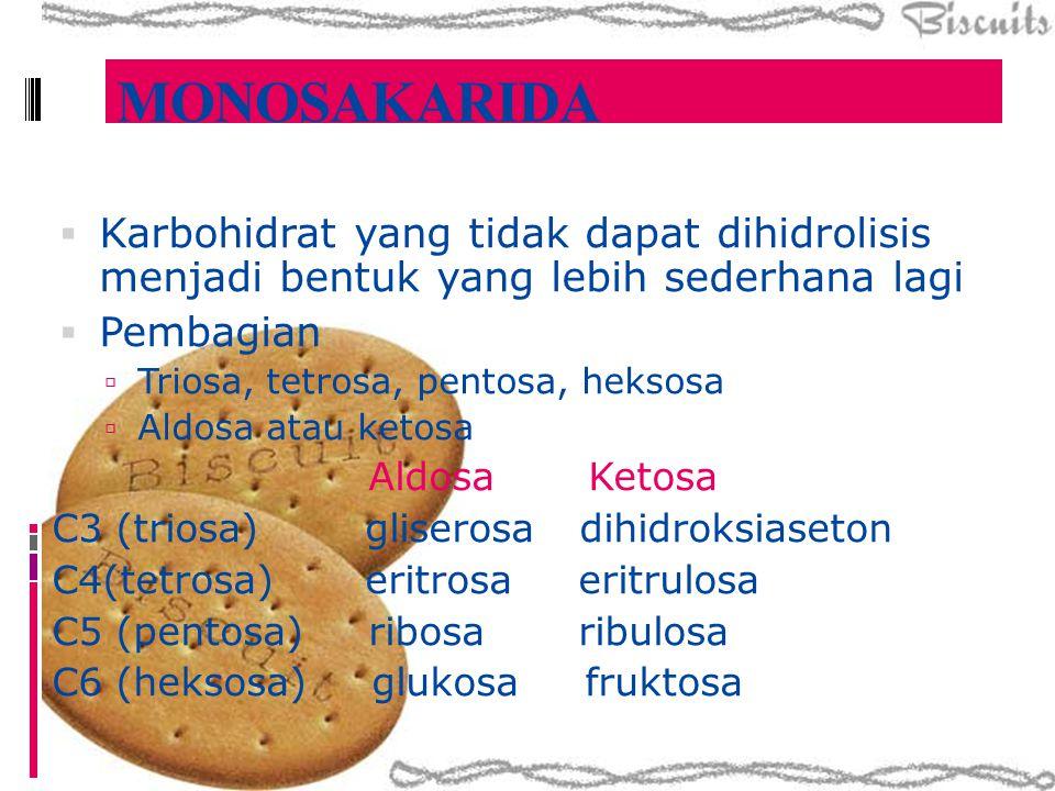  Karbohidrat yang tidak dapat dihidrolisis menjadi bentuk yang lebih sederhana lagi  Pembagian  Triosa, tetrosa, pentosa, heksosa  Aldosa atau ket