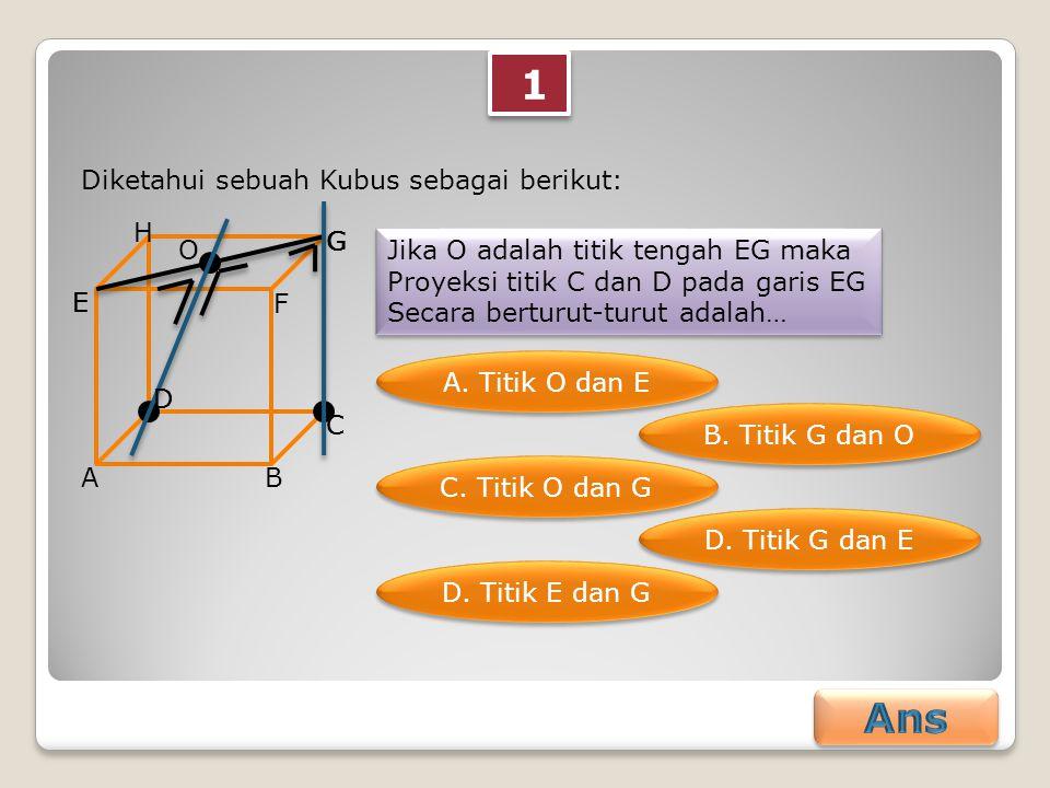 1 1 Diketahui sebuah Kubus sebagai berikut: AB C D E F G H Jika O adalah titik tengah EG maka Proyeksi titik C dan D pada garis EG Secara berturut-tur