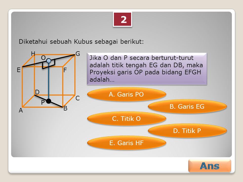 2 2 Diketahui sebuah Kubus sebagai berikut: A B C D E F GH Jika O dan P secara berturut-turut adalah titik tengah EG dan DB, maka Proyeksi garis OP pa