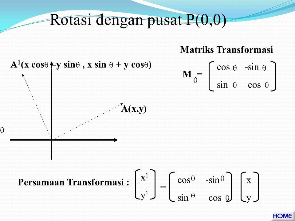 Rotasi adalah transformasi yang memindahkan titik pada bidang dengan perputaran yang ditentukan oleh pusat rotasi, besar sudut rotasi dan arah sudut rotasi