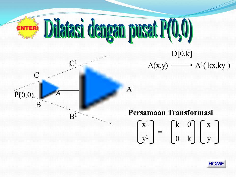 Dilatasi adalah suatu transformasi yang mengubah ukuran suatu bangun tanpa merubah bentuk bangun itu.