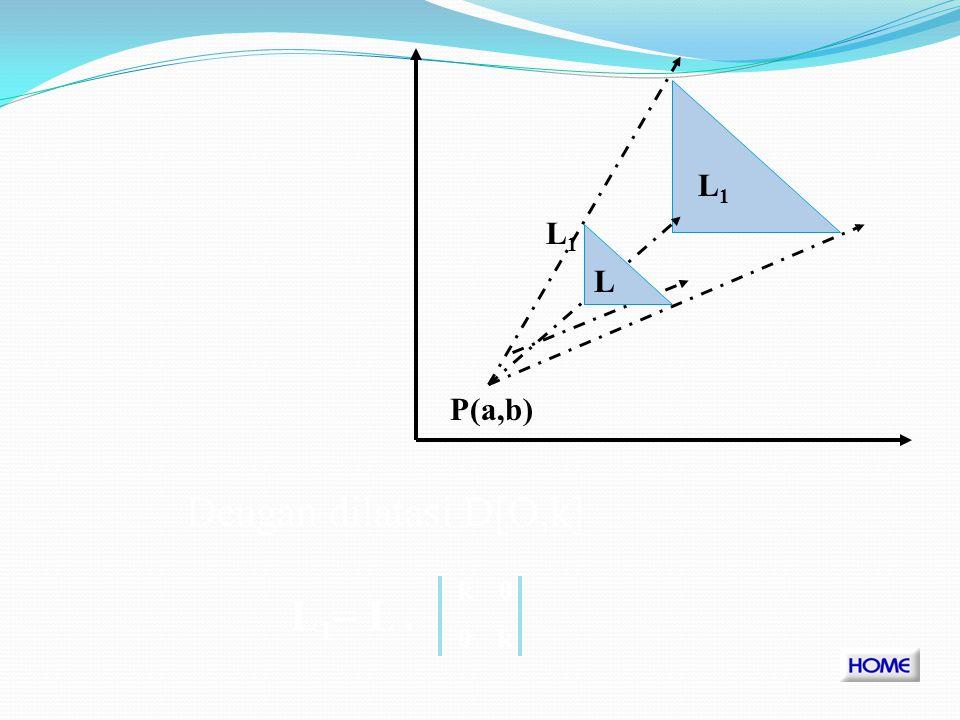 B1B1 C1C1 C B A1A1 P(a,b) A Persamaan Transformasi x1y1x1y1 k 0 0 k x-a y-b abab = +