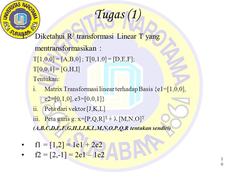 10 Tugas (1) 1.Diketahui R 3 transformasi Linear T yang mentransformasikan : T[1,0,0] = [A,B,0] ; T[0,1,0] = [D,E,F]; T[0,0,1] = [G,H,I] Tentukan: i.M