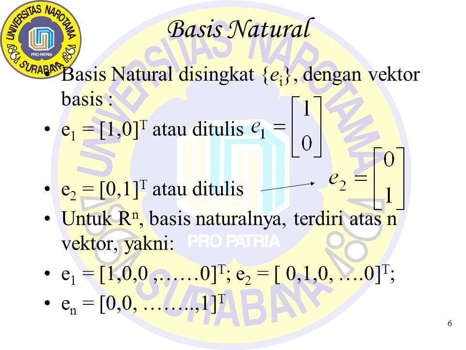 6 Basis Natural Basis Natural disingkat {e i }, dengan vektor basis : e 1 = [1,0] T atau ditulis e 2 = [0,1] T atau ditulis Untuk R n, basis naturalny