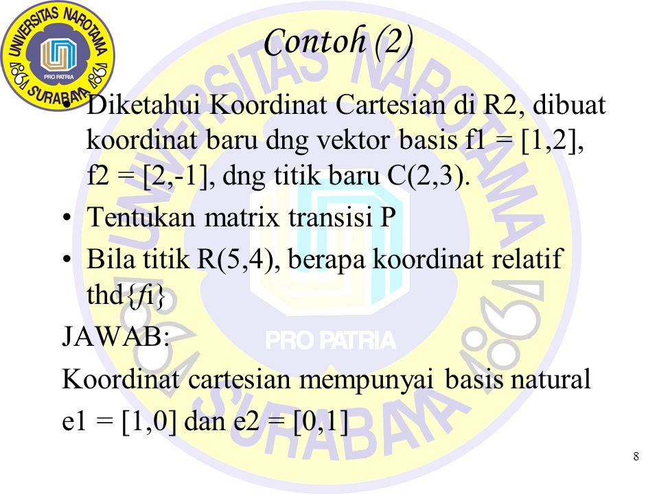 8 Contoh (2) Diketahui Koordinat Cartesian di R2, dibuat koordinat baru dng vektor basis f1 = [1,2], f2 = [2,-1], dng titik baru C(2,3). Tentukan matr