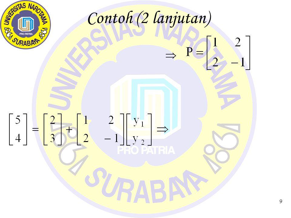 10 Tugas (1) 1.Diketahui R 3 transformasi Linear T yang mentransformasikan : T[1,0,0] = [A,B,0] ; T[0,1,0] = [D,E,F]; T[0,0,1] = [G,H,I] Tentukan: i.Matrix Transformasi linear terhadap Basis {e1=[1,0,0], e2=[0,1,0], e3=[0,0,1]} ii.Peta dari vektor [J,K,L] iii.Peta garis g: x=[P,Q,R] T + [M,N,O] T (A,B,C,D,E,F,G,H,I,J,K,L,M,N,O,P,Q,R tentukan sendiri) f1 = [1,2] = 1e1 + 2e2 f2 = [2,-1] = 2e1 – 1e2 Titik R(5,4) y 1 +2y 2 = 3 2y 1 – y 2 = 1 y1 = 1; y2 = 1 Jadi Koordinat R relatif thd basis {fi} adalah (1,1)
