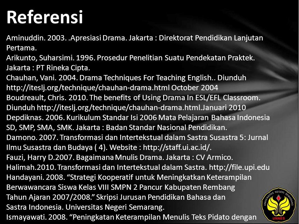 Referensi Aminuddin. 2003..Apresiasi Drama. Jakarta : Direktorat Pendidikan Lanjutan Pertama. Arikunto, Suharsimi. 1996. Prosedur Penelitian Suatu Pen