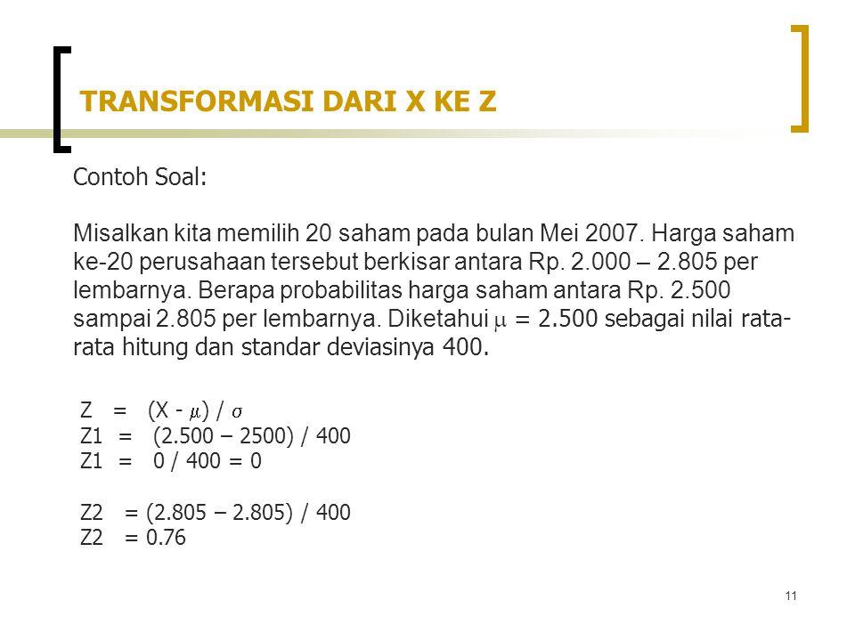 11 Contoh Soal: Misalkan kita memilih 20 saham pada bulan Mei 2007.