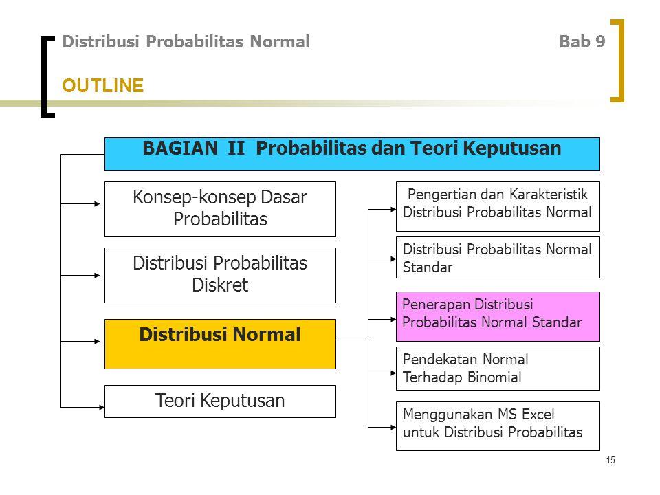 15 OUTLINE BAGIAN II Probabilitas dan Teori Keputusan Konsep-konsep Dasar Probabilitas Distribusi Probabilitas Diskret Distribusi Normal Teori Keputusan Pengertian dan Karakteristik Distribusi Probabilitas Normal Distribusi Probabilitas Normal Standar Penerapan Distribusi Probabilitas Normal Standar Pendekatan Normal Terhadap Binomial Menggunakan MS Excel untuk Distribusi Probabilitas Distribusi Probabilitas Normal Bab 9