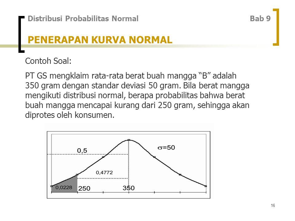 16 PENERAPAN KURVA NORMAL Contoh Soal: PT GS mengklaim rata-rata berat buah mangga B adalah 350 gram dengan standar deviasi 50 gram.