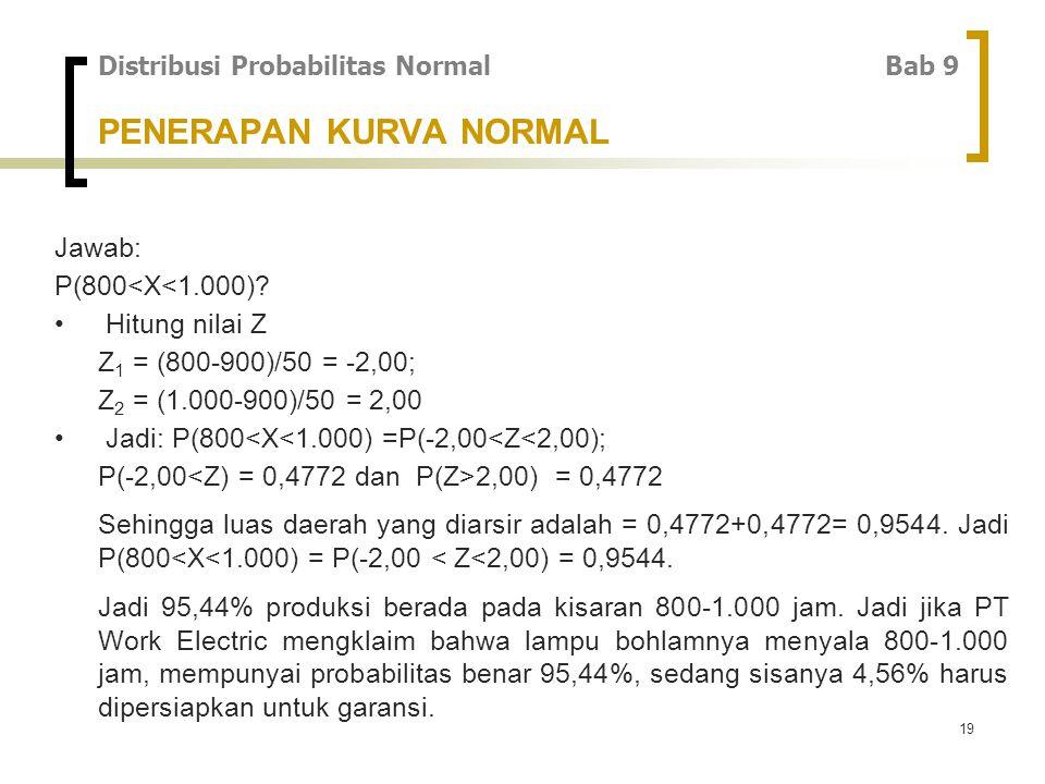 19 Jawab: P(800<X<1.000).