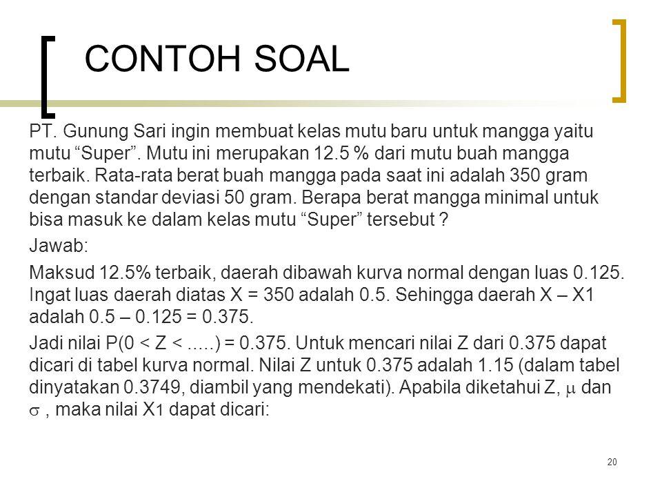CONTOH SOAL PT.Gunung Sari ingin membuat kelas mutu baru untuk mangga yaitu mutu Super .