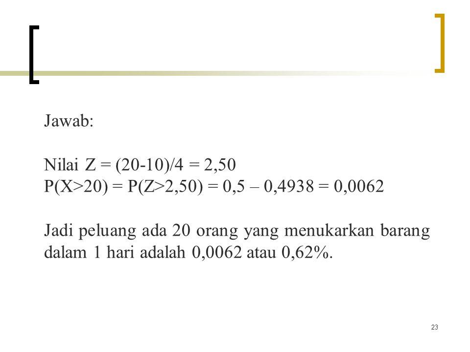 23 Jawab: Nilai Z = (20-10)/4 = 2,50 P(X>20) = P(Z>2,50) = 0,5 – 0,4938 = 0,0062 Jadi peluang ada 20 orang yang menukarkan barang dalam 1 hari adalah 0,0062 atau 0,62%.