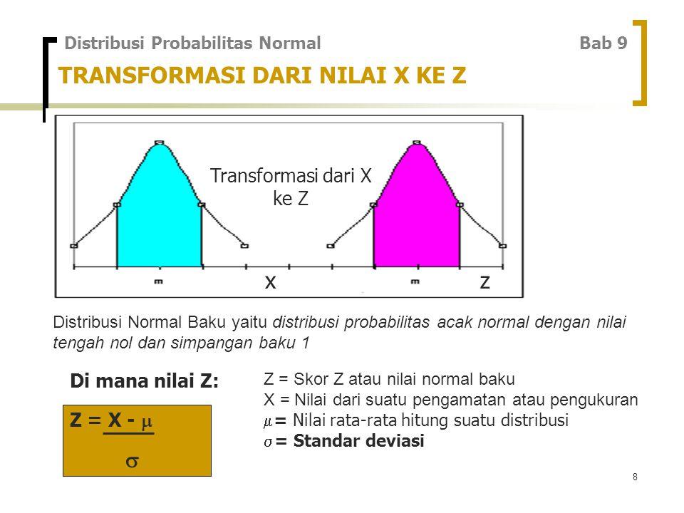 8 TRANSFORMASI DARI NILAI X KE Z Transformasi dari X ke Z xz Di mana nilai Z: Distribusi Probabilitas Normal Bab 9 Z = X -   Distribusi Normal Baku yaitu distribusi probabilitas acak normal dengan nilai tengah nol dan simpangan baku 1 Z = Skor Z atau nilai normal baku X = Nilai dari suatu pengamatan atau pengukuran  = Nilai rata-rata hitung suatu distribusi  = Standar deviasi