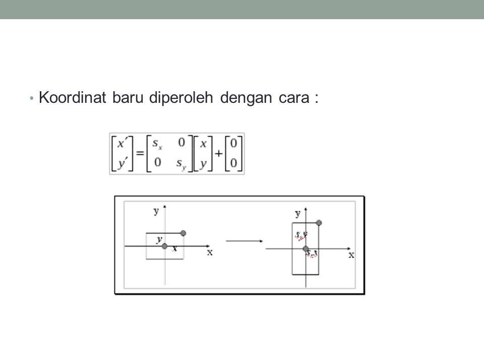 Contoh Untuk menggambarkan skala suatu objek berupa segitiga dengan koordinat A(10,10) B(30,10) dan C(10,30) dengan (sx,sy) (3,2), tentukan koordinat yang barunya .