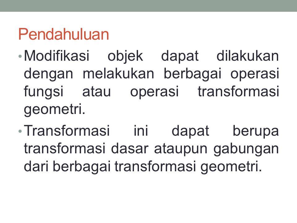 Pendahuluan Jenis-jenis transformasi geometri Translasi, Penskalaan, Putaran (rotasi), Balikan, Shearing dan gabungan.