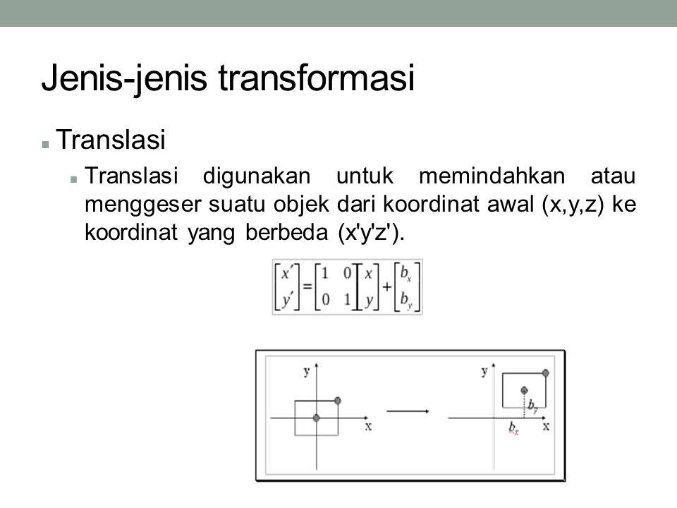Jenis-jenis transformasi Translasi Translasi digunakan untuk memindahkan atau menggeser suatu objek dari koordinat awal (x,y,z) ke koordinat yang berbeda (x y z ).