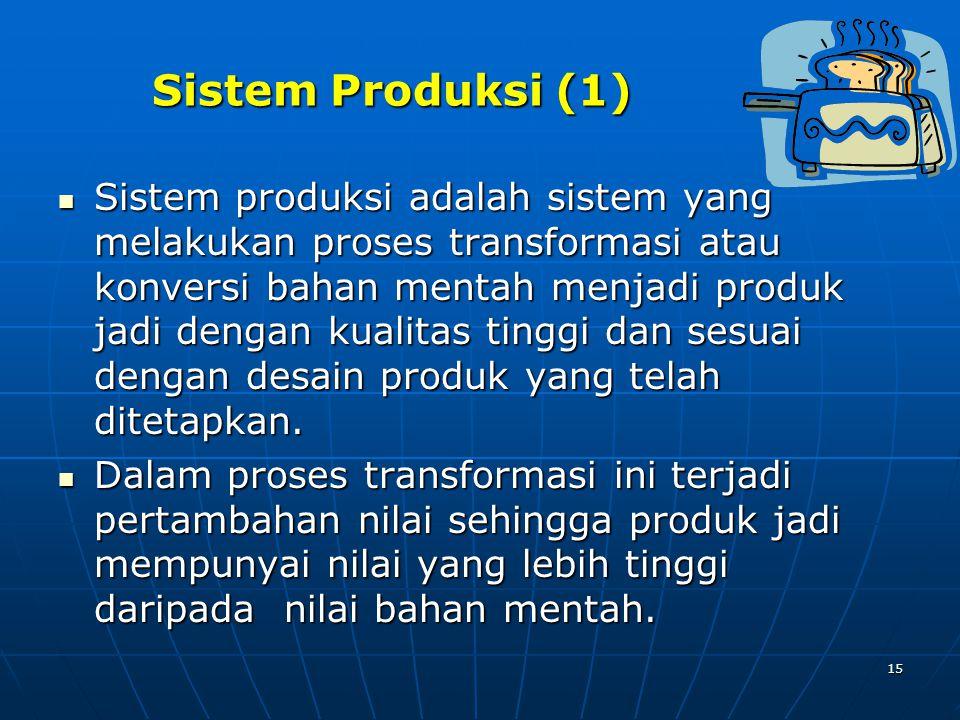 15 Sistem Produksi (1) Sistem produksi adalah sistem yang melakukan proses transformasi atau konversi bahan mentah menjadi produk jadi dengan kualitas