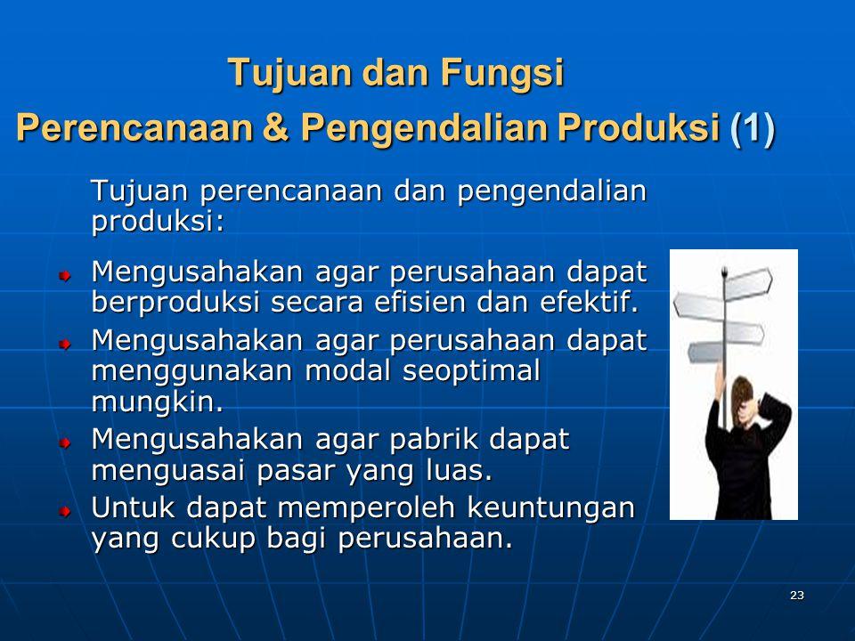 23 Tujuan dan Fungsi Perencanaan & Pengendalian Produksi (1) Tujuan perencanaan dan pengendalian produksi: Mengusahakan agar perusahaan dapat berprodu