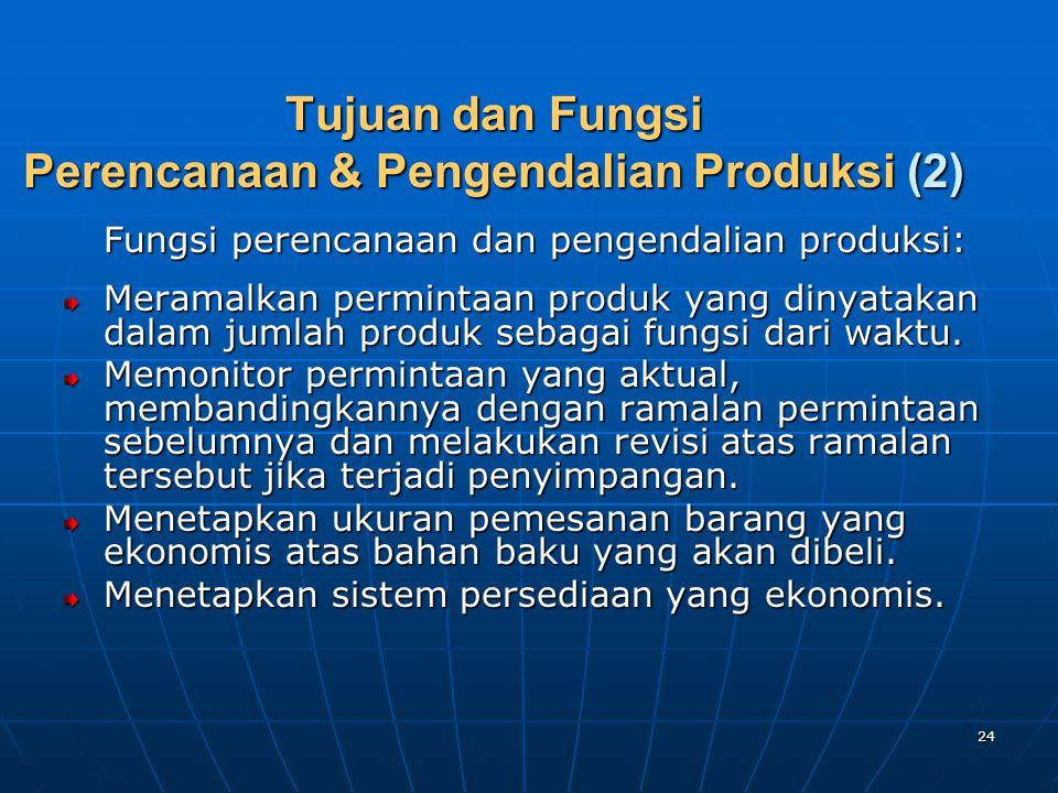 24 Tujuan dan Fungsi Perencanaan & Pengendalian Produksi (2) Fungsi perencanaan dan pengendalian produksi: Meramalkan permintaan produk yang dinyataka