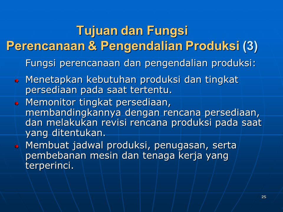 25 Tujuan dan Fungsi Perencanaan & Pengendalian Produksi (3) Fungsi perencanaan dan pengendalian produksi: Menetapkan kebutuhan produksi dan tingkat p